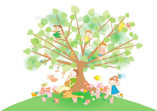 家族と樹木 (c)moonbase
