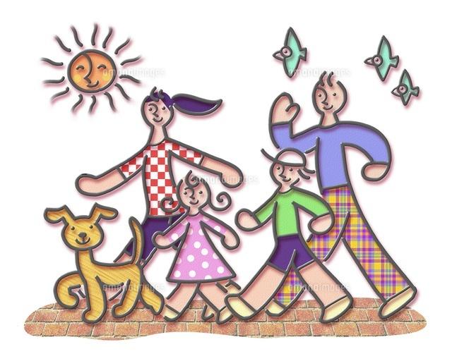 イラストの散歩する家族と犬 (c)moonbase