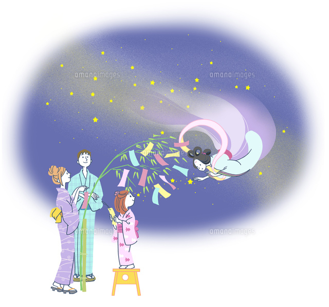 七夕の浴衣の家族 (c)moobase