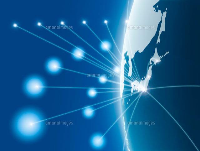 シミュレーションツール 半円に描かれた日本地図のネットワークイメージ[10327000071]|