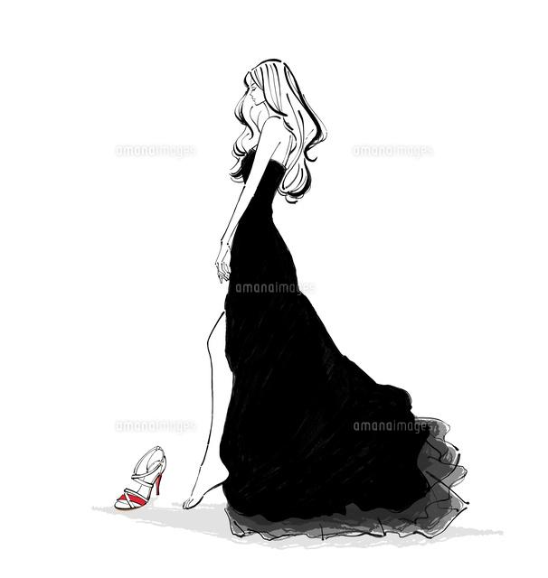 靴を履くドレスの女性[10402000159 ...