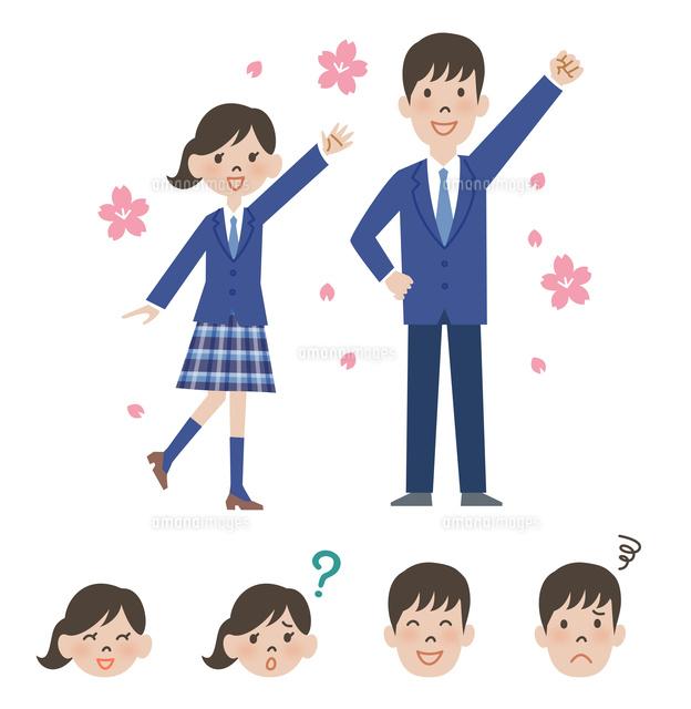 女子高校生と男子高校生の新入生と顔アイコン (c)GOKU/a.collectionRF