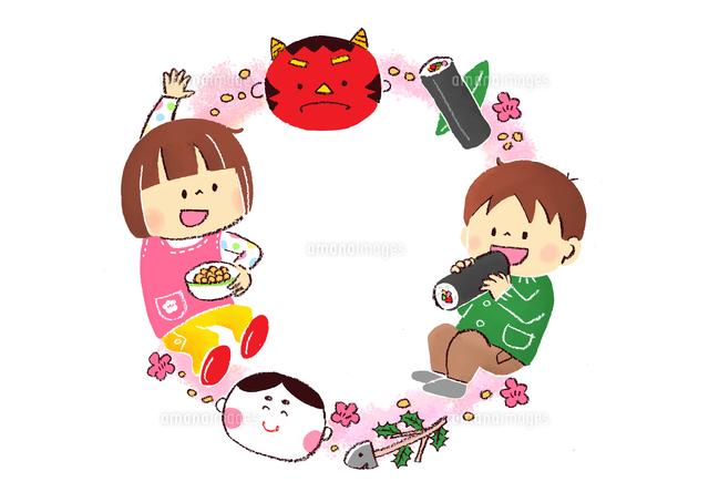節分の鬼と豆まきをする子供と恵方巻き (c)Fumi Watanabe/a.collectionRF