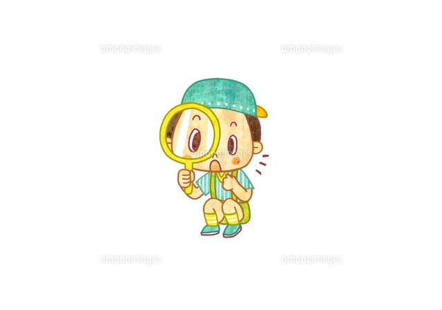 むしめがねを持つ男の子 (c)gami/a.collectionRF