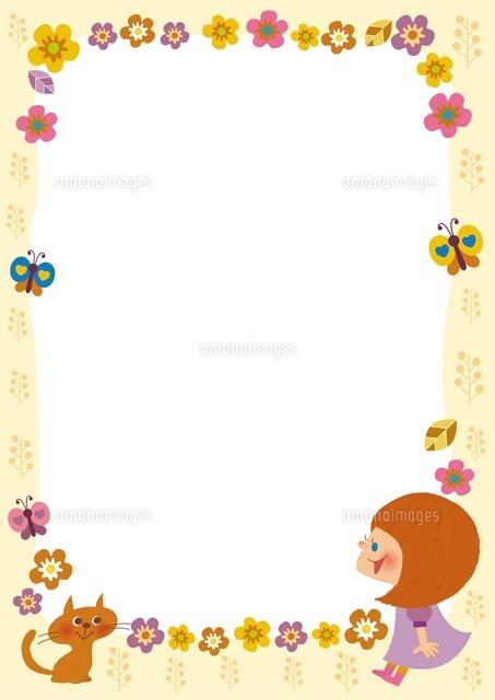 お花と女の子のフレーム (c)aque/a.collectionRF