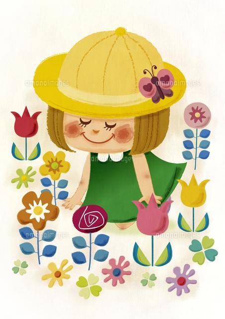 お花に囲まれたおんなのこ(手描き風) (c)aque/a.collectionRF