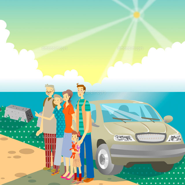 family standing by beach with a car (c)IMAGEMORE