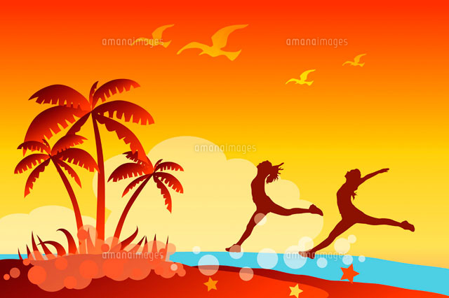 Silhouette of two women dancing on an island (c)IMAGEMORE