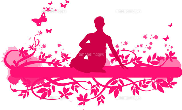 A woman doing yoga with floral pattern in background (c)IMAGEMORE