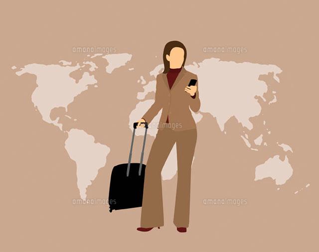 Woman with mobile phone & suitcase (c)Ralf Hiemisch/fStop