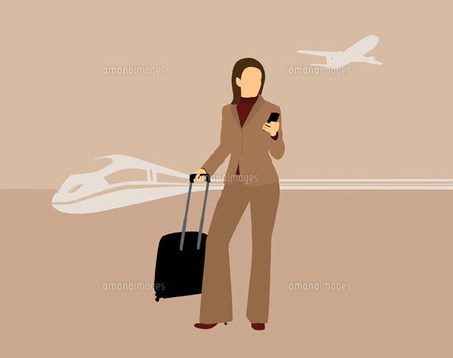 Woman with mobile phone & suitcase