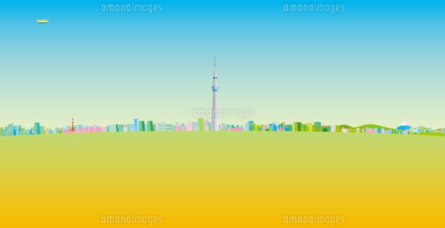 青空と東京スカイツリーと街並み イラスト (c)imagewerks RF