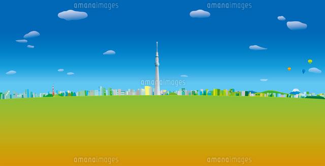 青空と雲と気球の浮かぶ東京スカイツリーと街並み イラスト (c)imagewerks RF
