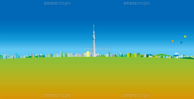 青空と雲と東京スカイツリーと街並み イラスト (c)imagewerks RF