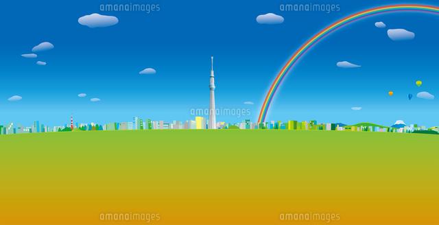 青空と雲と虹と気球の浮かぶ東京スカイツリーと街並み イラスト (c)imagewerks RF