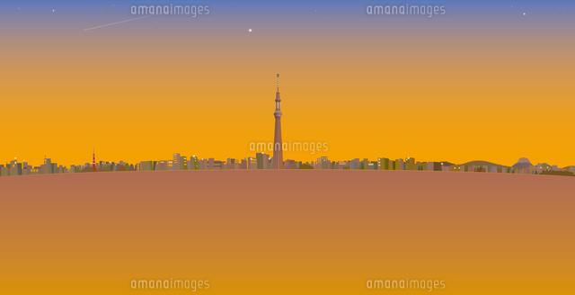夕暮れと流れ星と東京スカイツリーと街並み イラスト (c)imagewerks RF