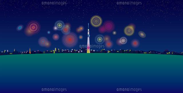 花火のあがる夜空と東京スカイツリーと街並み イラスト (c)imagewerks RF