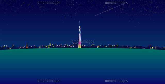 夜空と流れ星と東京スカイツリーと街並み イラスト (c)imagewerks RF