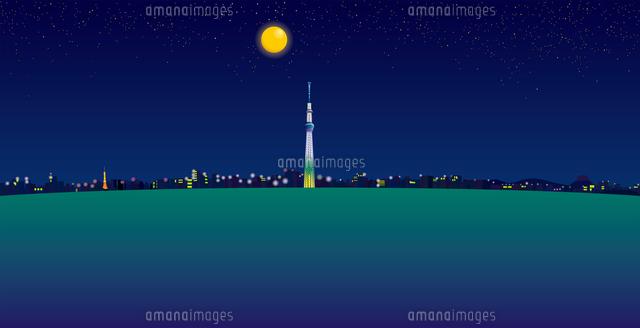 夜空と満月と東京スカイツリーと街並み イラスト (c)imagewerks RF