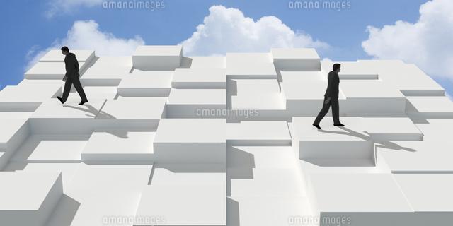 凹凸を歩く2人のビジネスマン CG (c)imagewerks RF
