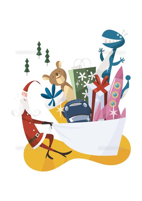 沢山のプレゼントを運ぶサンタ (c)イメージナビ