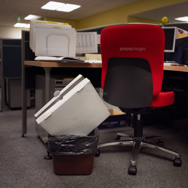 pizza box sticking out of bin in office 11027001466. Black Bedroom Furniture Sets. Home Design Ideas