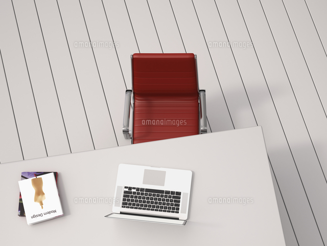 Digital Illustration of Overhead View of Desk with Red Chair, Laptop and Books (c)Radius Images
