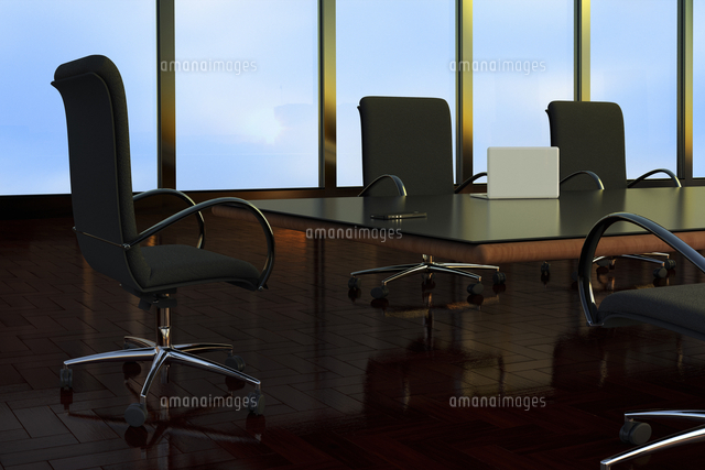 Illustration of Empty Boardroom in Office Building