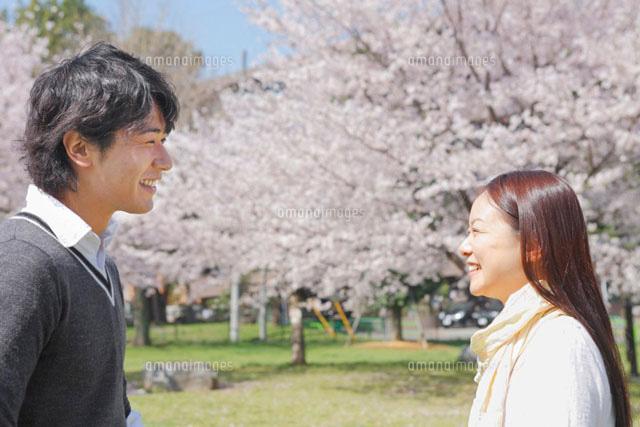 桜の咲く公園で向かい合う笑顔の男女 (c)iconics