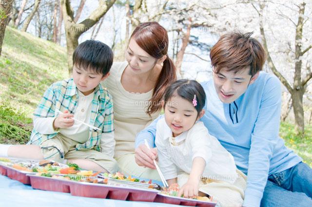 お花見弁当を食べるファミリー (c)DAJ