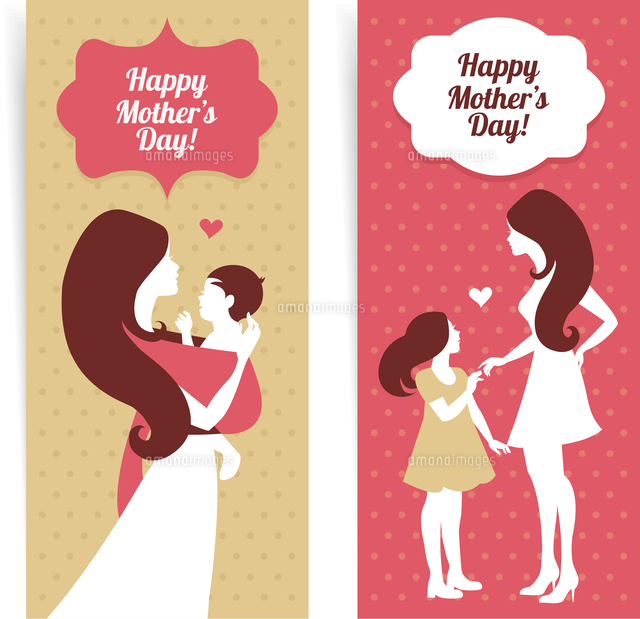 Happy Mother's Day. Banners of beautiful silhouette of mother and baby in vintage style (c)Ingram Image
