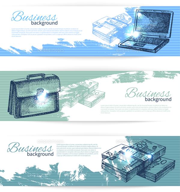 Banner set of hand drawn business backgrounds (c)Ingram Image