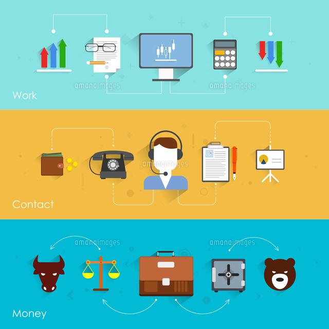 Finance exchange flat banner set with work contact money isolated vector illustration (c)Ingram Image