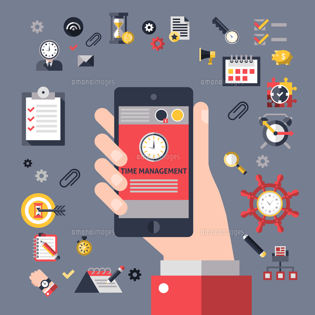 Time management concept with hand holding mobile phone and successful business planning elements vec