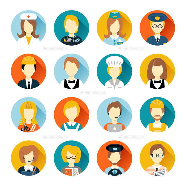 Set of colorful profession people flat style icons in circles with long shadows vector illustration (c)Ingram Image