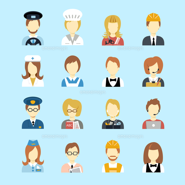 Set of occupations profession peoples avatar in flat color style vector illustration