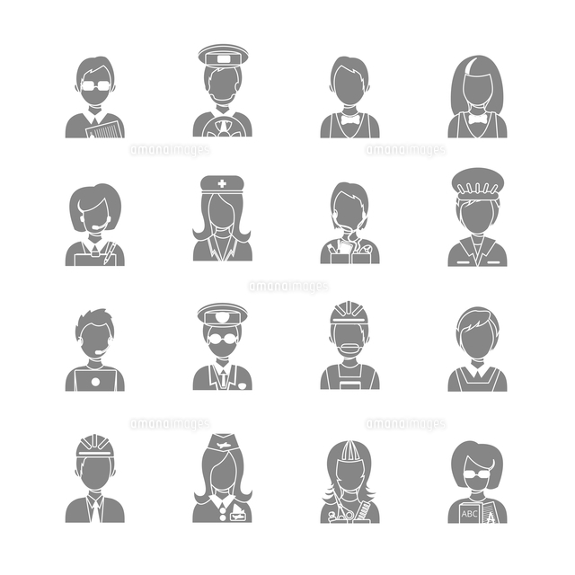 Set of occupations profession people characters in gray color vector illustration (c)Ingram Image
