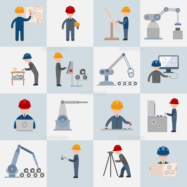 Engineering construction worker machine operator mechanic flat icons set isolated vector illustratio (c)Ingram Image