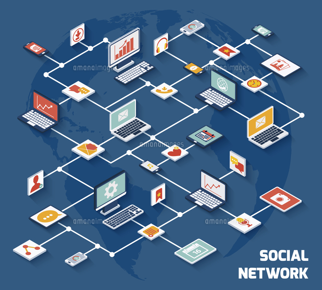 Social network concept with laptops with isometric application buttons set vector illustration