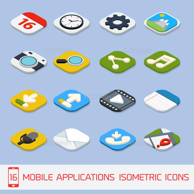 Mobile phone applications navigation communication isometric icons set  isolated vector illustration (c)Ingram Image