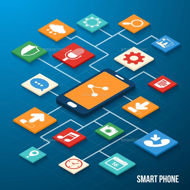 Mobile phone applications navigation communication isometric icons set with smartphone vector illust (c)Ingram Image