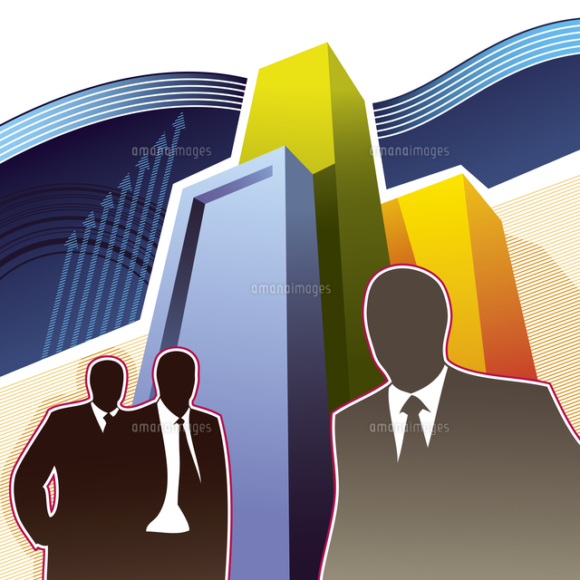 Businessmen silhouettes on abstract background (c)Ingram Image