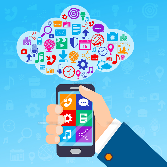 Mobile phone services poster with hand and cloud of icons vector illustration (c)Ingram Image