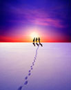 雪原を歩く女性3人 合成