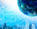 氷に埋もれたビル群と惑星