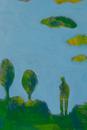立っている人と木と青空のイラスト