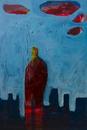 夕焼けに空に立つ人と都会のシルエット