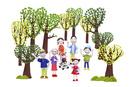 家族7人(青い鳥を手に乗せた女の子)とハートの木々