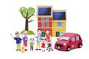 太陽光発電の2世帯住宅と電気自動車と家族7人と犬