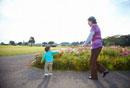 コスモス畑の前でおばあちゃんにおいでをする孫